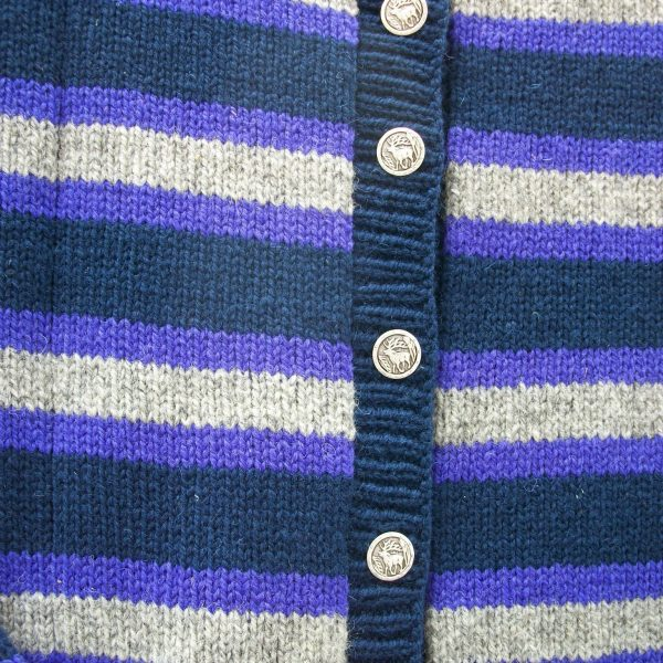 Wool crew neck striped cardigan in navy, purple and grey