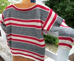 Lette-Icelandic wool striped Boat-Neck pullover